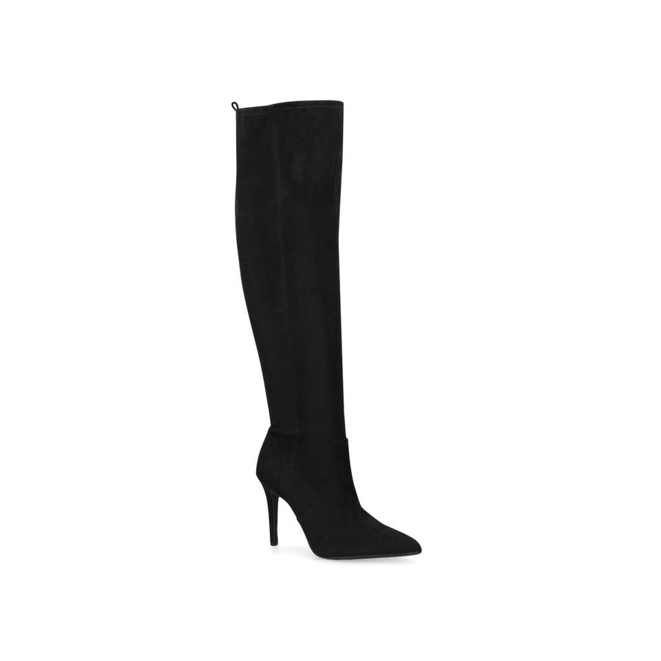 d4b14f9e80f Nine West Black Fenna Satin Over The Knee Pointed Boots Booties Size ...