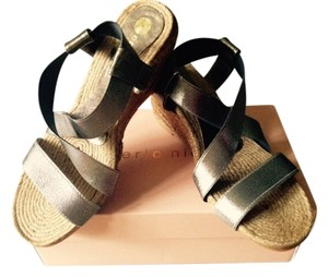 Eric Michael Metallic Stretch Straps Rope Gray Metallic/rope Wedges