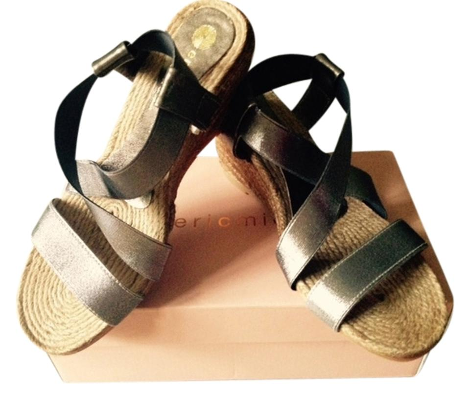 Eric Michael Gray Metallic/Rope New Wedges Elena Sandal Wedges New 27c201
