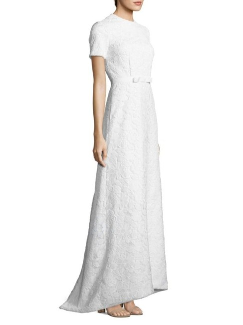 Item - White Guipure Lace Open Back Gown Bridal Long Formal Dress Size 4 (S)