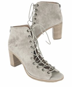 Jeffrey Campbell Cors Suede Leather Peep Toe Taupe Boots