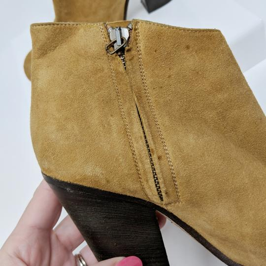 Peter Nappi Suede Leather Chunky Heel Ankle Tan Boots Image 2