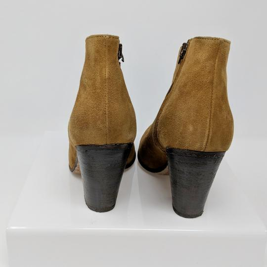 Peter Nappi Suede Leather Chunky Heel Ankle Tan Boots Image 4