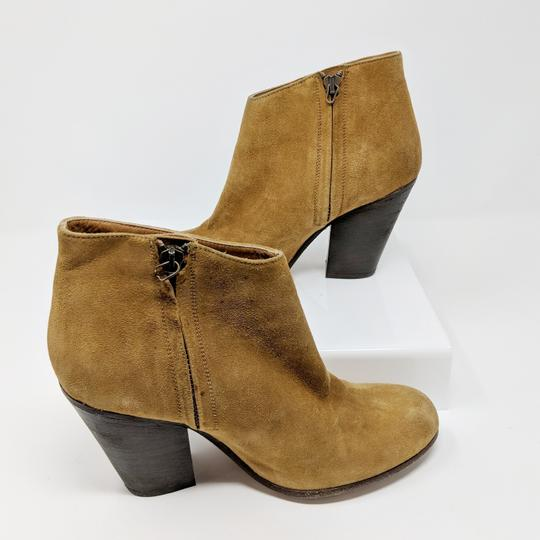 Peter Nappi Suede Leather Chunky Heel Ankle Tan Boots Image 6