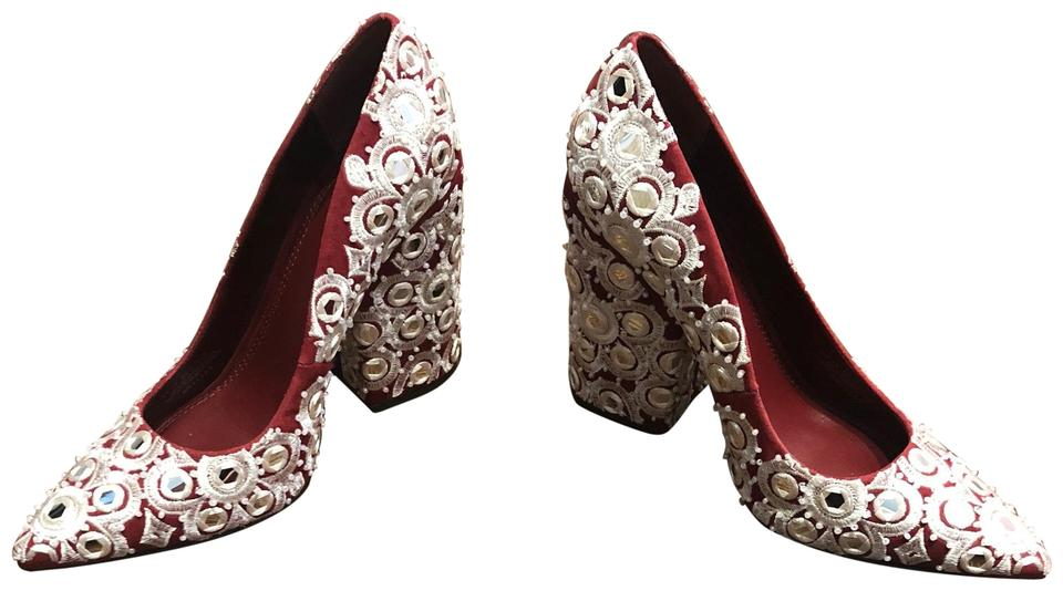 d2d5eed0832 Tory Burch Tuscan Wine Francesca 110mm with Embroidery Pumps Size US ...