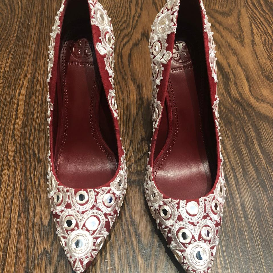 beb2f98fd5f Tory Burch Tuscan Wine Francesca 110mm with Embroidery Pumps Size US ...