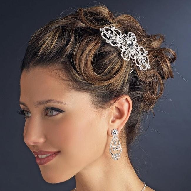 Item - Silver Rhinestone Plated Swirl Comb Hair Accessory