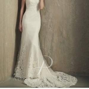 Adrianna Papell Ivory Lace and Netting Over Oyster Lining Shadow 31048 Feminine Wedding Dress Size 8 (M)