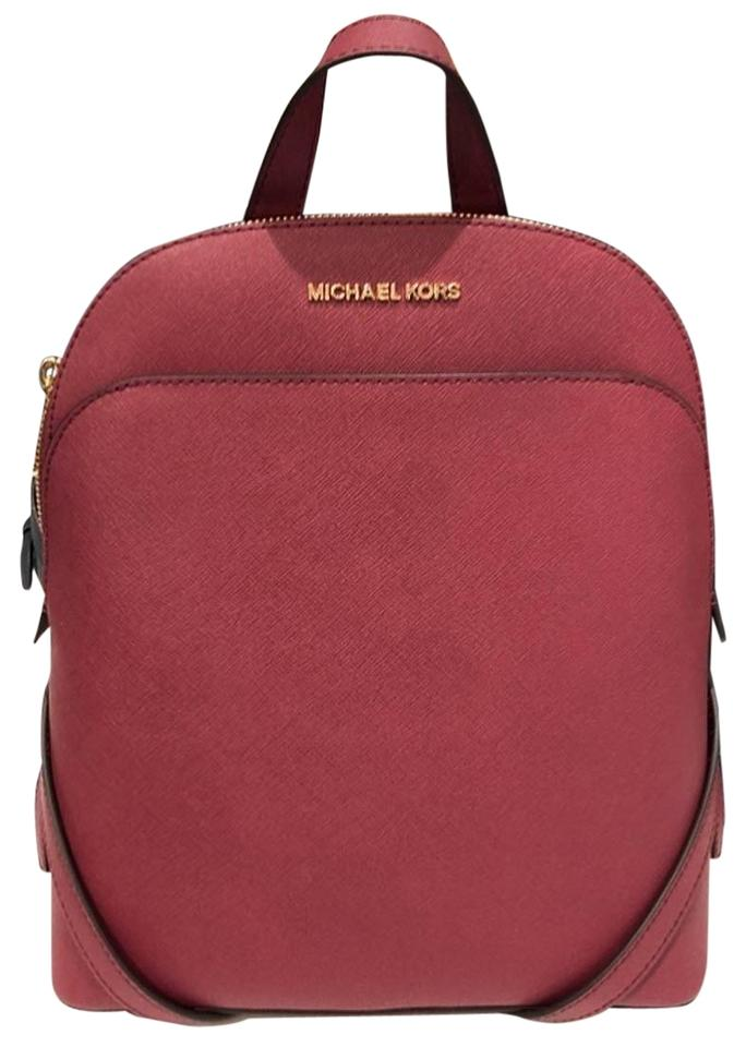 d9c848af2488 Michael Kors Emmy Mulberry Red Leather Backpack - Tradesy