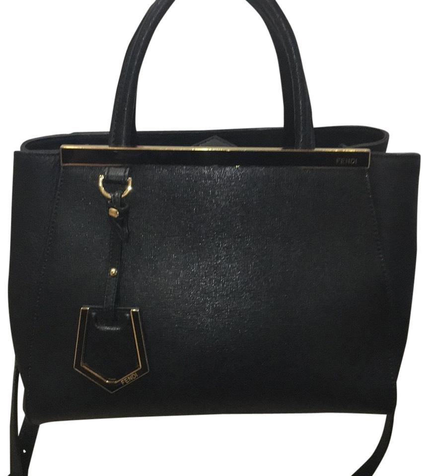 1920be17ab Fendi Petite 2jours Black with Gold Hardware Leather Cross Body Bag ...