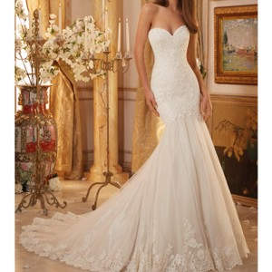 Mori Lee Ivory Over Cocoa Lace Netting 5475 Feminine Wedding Dress Size 8 (M)