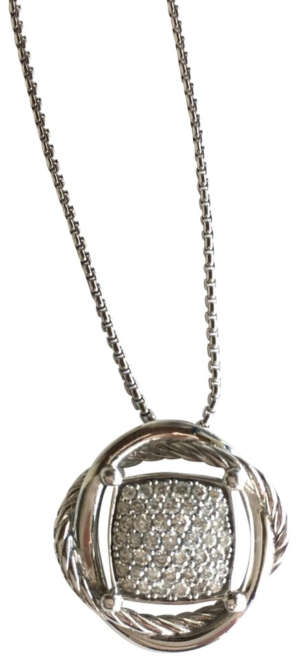 d1e00fbae398 David Yurman Sterling Silver with Diamonds Crossover Pendant Necklace
