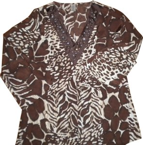 Avon Blouse Animal Print Beaded V-neck Tunic