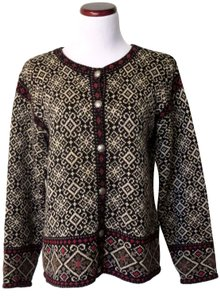 Nomadic Traders Vintage Collectors Item Button Front Tapestry Design Cotton/Ramie Cardigan