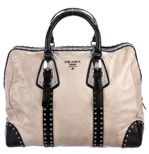 9f463bf407b0 Prada Dust Cover Care Booklet Satchel in Beige & Black Trim