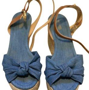 Michael Kors blue denim/brown Wedges