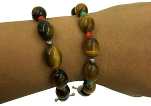 Carolyn Pollack Tiger's Eye, Coral, turquoise & textured sterling beads toggle Clasp Bracelet