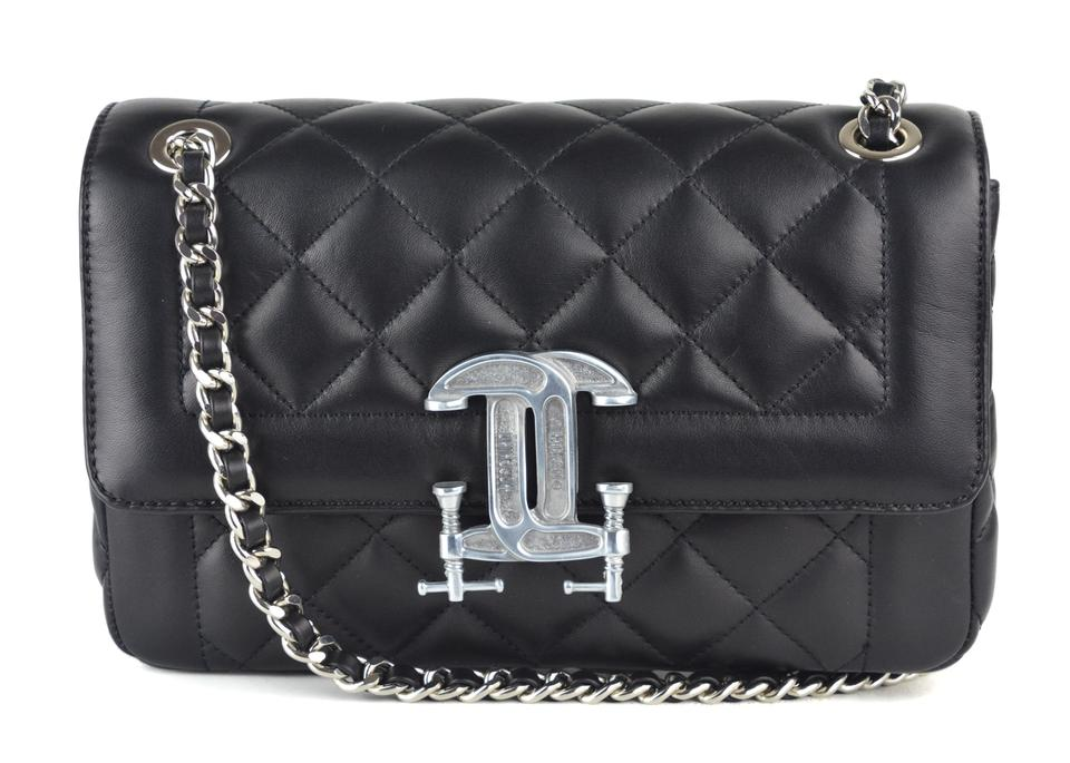 Moschino Womens Logo Quilted A1009 Black Leather Shoulder Bag - Tradesy 989c907012