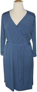 Jones New York Faux Wrap Blue Dress