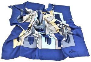 "Fendi ""Gloves"": ""FF"" Logo 100% Silk Twill, (vw) Foulard /"