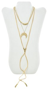 Panacea Cache PANACEA BEADED LEATHER TASSEL WRAP AND MOON NECKLACE