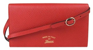 Gucci Leather Swing Crossbody Wallet Red Clutch