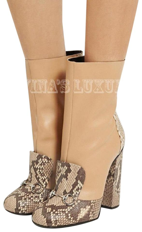 98d948b2634ada Gucci Python Camel Horsebit Ankle Lillian with Detail 36.5 6.5 Boots ...