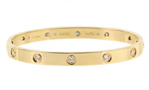 Cartier 18k Gold Love Bangle 10 Diamonds