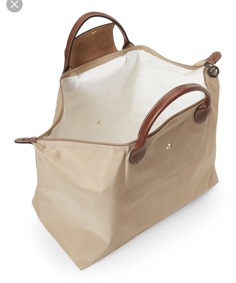 Longchamp Xl Tote Leather Beige Nylon Weekend Travel Bag - Tradesy cc5e398815608