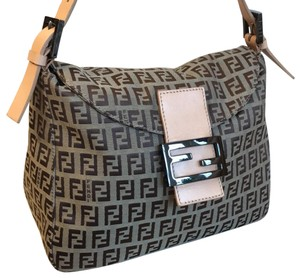861880fa60a3 Fendi Zucca   Zucchino Pattern Mamma Baguette Brown Canvas Shoulder Bag