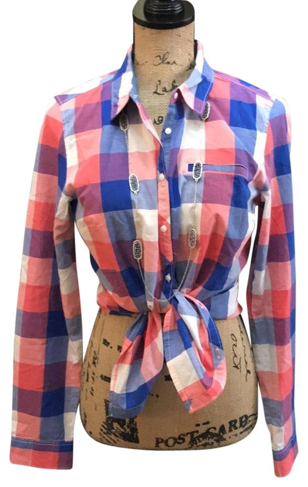 6ac2829d91 Tommy Hilfiger Coral White and Blue Plaid Never Worn Button-down Top ...
