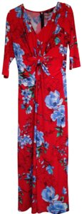Red Floral Print Twist Front Maxi Dress Maxi Dress by G.I.L.I. Size Small Machine Wash 94% Polyester 6% Spandex