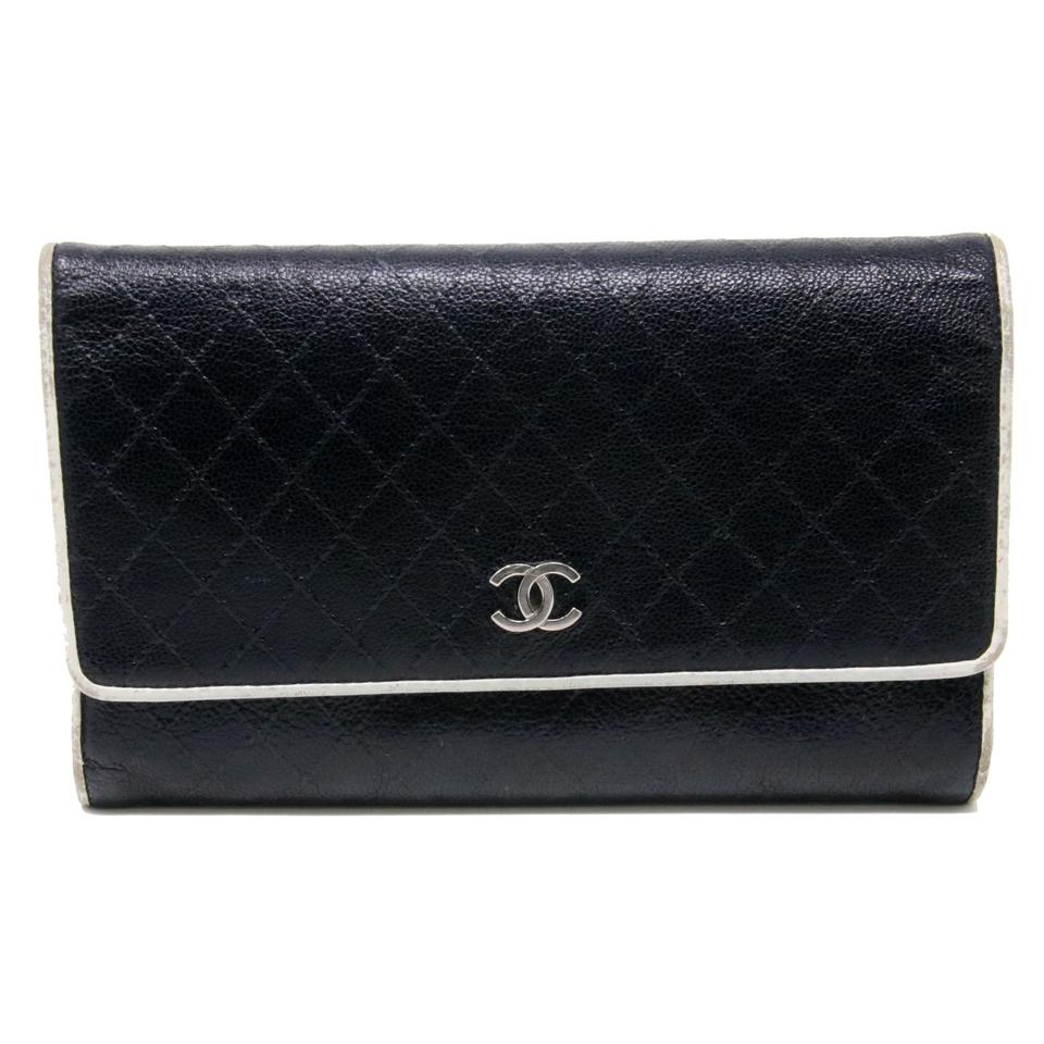 611c57bfd358 Chanel Black White Piping Classic Micro Stitch Wild Diamond Quilted Long  Flap Chrome Cc Wallet