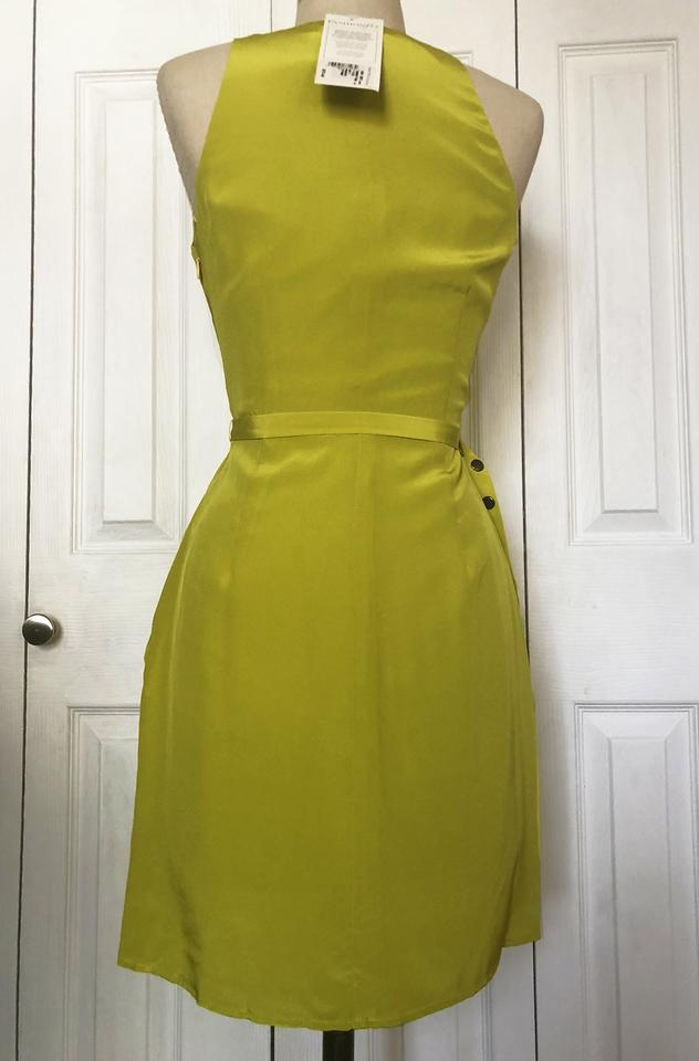 8f48d49dc059 Lime Green Yellow Virginia Silk Wrap Short Work/Office Dress Size 0 ...