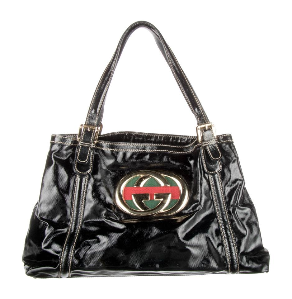 fdfe6d0251a4 Gucci Britt Webby Dialux Black Patent Leather Tote - Tradesy