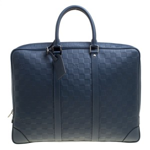 15e6e0bfbda9 Porte Damier Infini Documents Voyage Briefc Blue Leather Laptop Bag