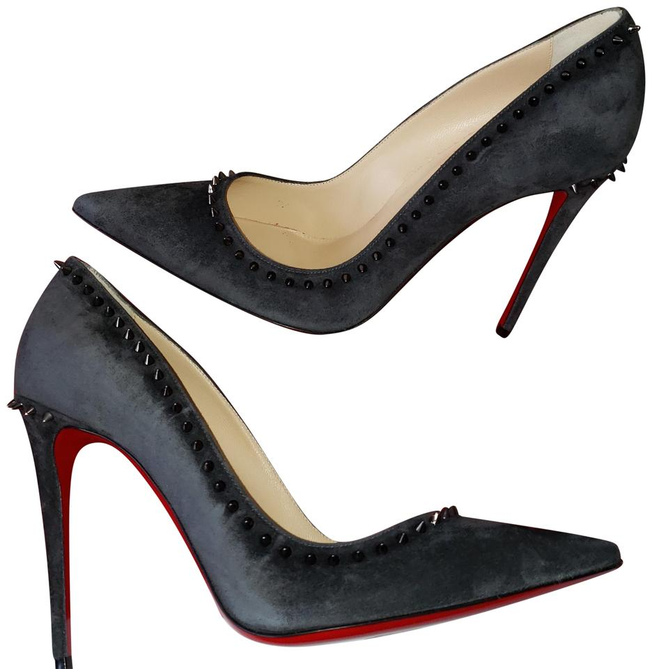 Christian Louboutin Charbon (Dark Grey) Anjalina 100 Spiked Studded Suede  Pumps 075fa8248b4