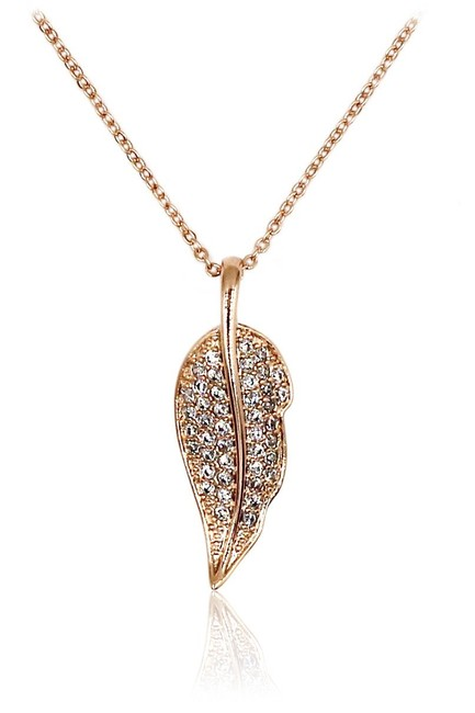 Ocean Fashion Rose Gold 925 Delicate Leaves Crystal Necklace Ocean Fashion Rose Gold 925 Delicate Leaves Crystal Necklace Image 1
