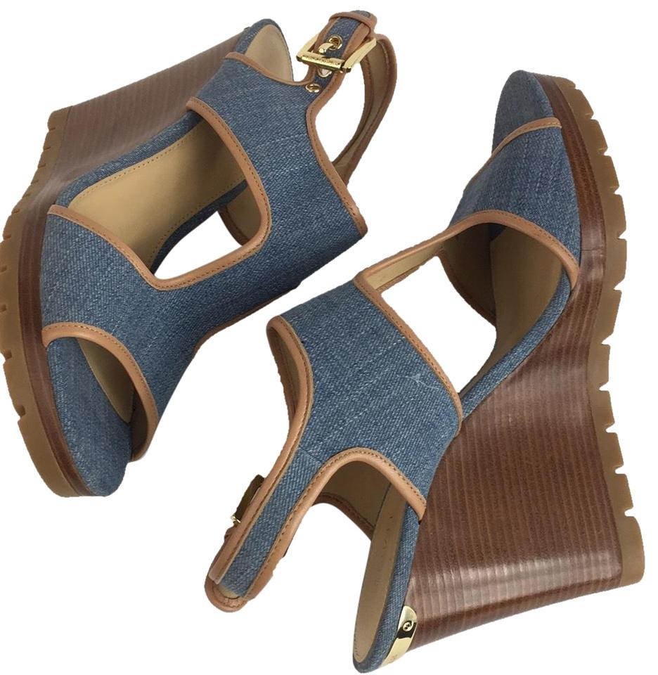 bac64a5b015f Michael Kors Blue New Women s Open Toe Sandals Wedges Size US 10 ...