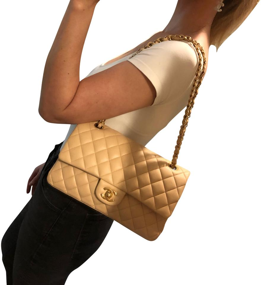 8caabbdfba108a Chanel Double Flap Classic Claire Beige Lambskin Leather Shoulder ...