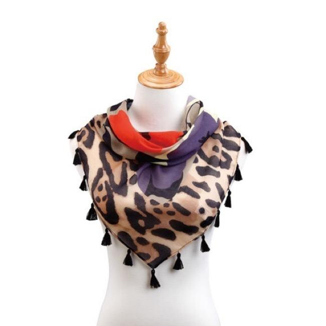 Mixed Ds Tasseled Triangle Floral On Animal Print Scarf/Wrap Mixed Ds Tasseled Triangle Floral On Animal Print Scarf/Wrap Image 1