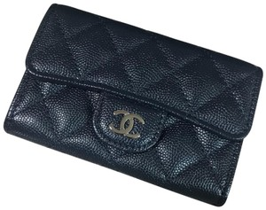 9f2ed7349697 Chanel Navy Classic Flap Card Holder In Caviar with Shw Wallet - Tradesy
