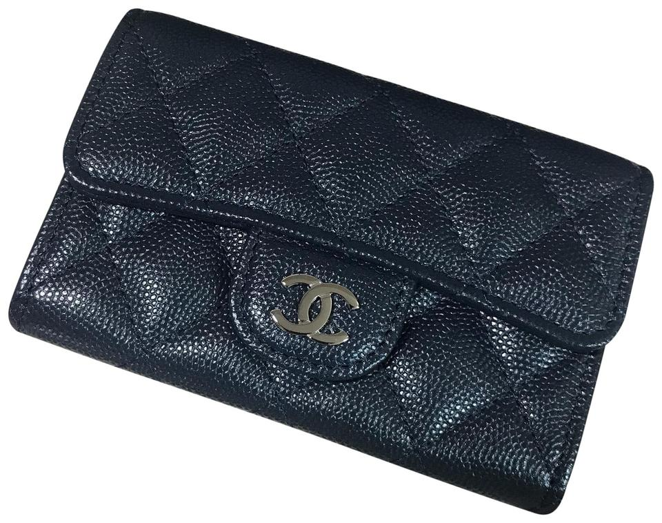 ad0bba426a66 Chanel Chanel Navy Classic Flap Card Holder In Caviar with SHW Wallet Image  0 ...