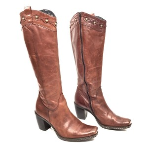 Sundance Leather Knee High Studded Brown Boots