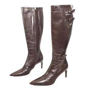 Ralph Lauren Collection Leather Tortoise Shell Buckles Knee High Brown Boots