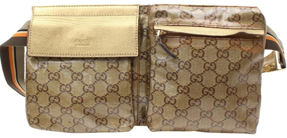 8946754a9807 Gucci Cystal Monogram Gg Waist Pouch Fanny Pack 868117 Gold Coated Canvas  Cross Body Bag
