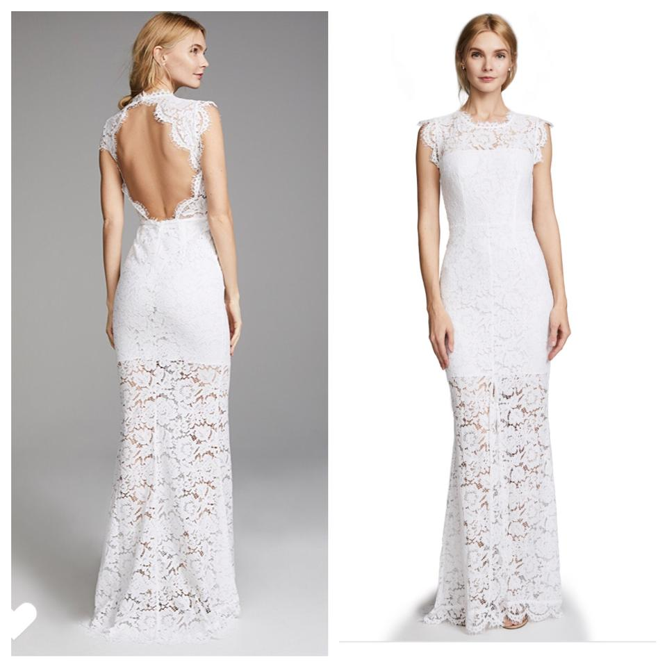 77c3e68bf2f Rachel Zoe White Open Back Lace Gown Long Formal Dress Size 6 (S ...