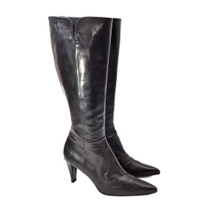 Stuart Weitzman Leather Knee High Pointed Toe Black Boots