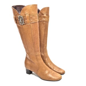 Bruno Magli Leather Embossed Knee High Camel Boots