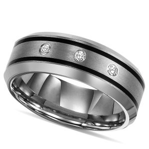 Tungsten Engagement Ring Men's Wedding Band